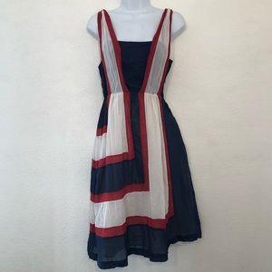 Betsey Johnson sz small red white blue apron dress
